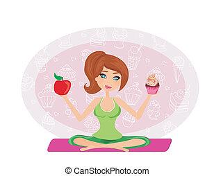 menina, escolher, entre, um, maçã, e, um, cupcake