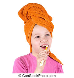 menina, escova dentes