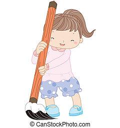 menina, escova, ilustração, escrita