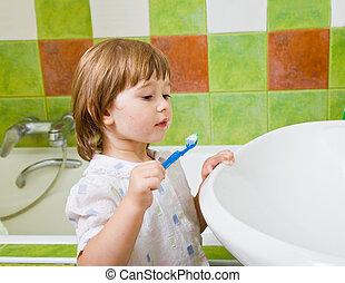 menina, escovas, teeth.