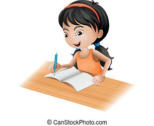 menina, escrita