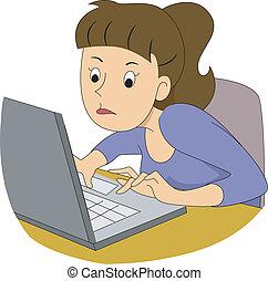 menina, escritor, digitando, rapidamente