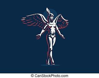 menina, espalhar, passos, ande pé ante pé, anjo, wings., braços