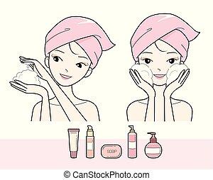 menina, espuma, lavando rosto