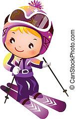 menina, esquiando