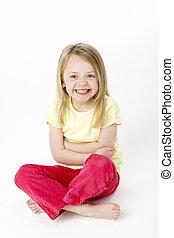 menina, estúdio, jovem, sentando