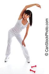 menina, esticar, pilates, exercício