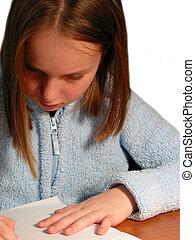 menina, estudo, criança