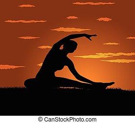 menina, exercício, ioga, faz