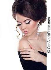 menina, experiência., jóia, branca, luminoso, make-up., isolado, mulher, beauty., bonito, moda, foto
