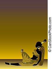 menina, experiência verde, africano