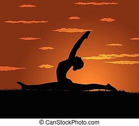 menina, faz, ioga, exercício