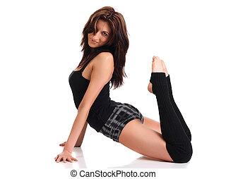 menina, fazendo, aeróbica, exercício
