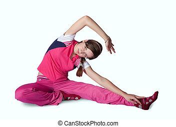 menina, fazendo, aeróbica