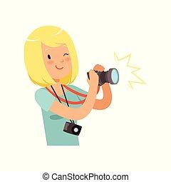 menina, fazendo exame retratos, profissional jovem,...