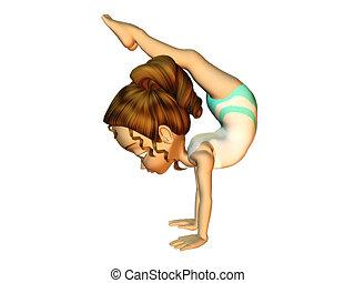 menina, fazendo, ginástica