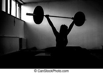 menina, fazendo, squats, com, peso