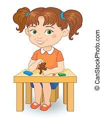 menina, fazer, plasticine, figuras, caricatura, vetorial, ilustração, isolado, branco, experiência.