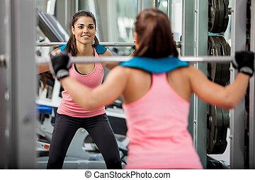 menina, feliz, algum, squats