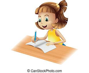 menina, feliz, escrita