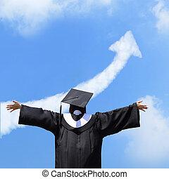 menina, feliz, estudante, graduado