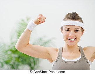 menina, Feliz, mostrando,  bíceps,  sporty
