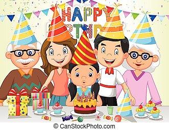 menina, feliz, soprando, aniversário, caricatura