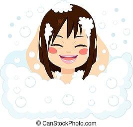 menina, feliz, tendo, banho