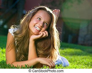 menina, field., felicidade, mentindo, bonito