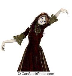 menina, figura, boneca