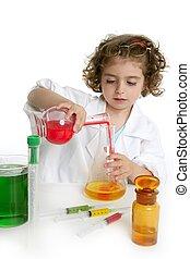menina, fingir, para, ser, doutor, em, laboratório