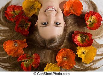 menina, flor, ao redor, inocente