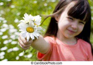 menina, flor