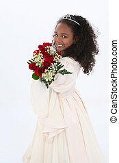 menina, flores, criança