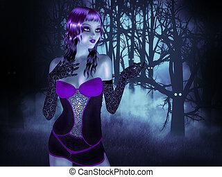 menina, floresta, noturna