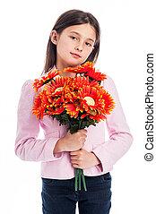 menina, flowers., jovem, segurando, grupo
