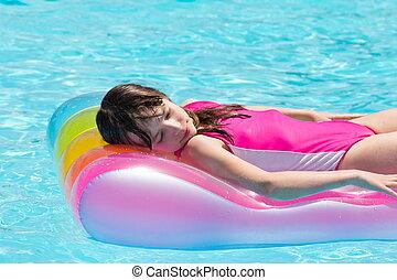 menina, flutuante, airbed