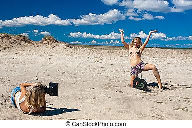 menina, fotografar