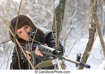 menina, franco-atirador, rifle