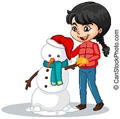 menina, fundo, boneco neve, isolado, fazer