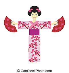 menina, fundo branco, japoneses