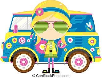 menina, furgão, hippie, caricatura, retro