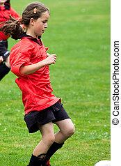 menina, futebol, tocando