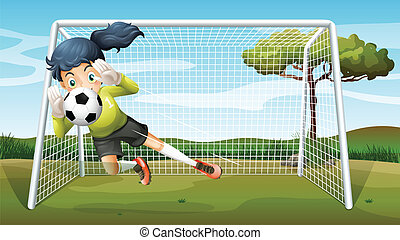 menina, futebol, tocando, sporty, jovem