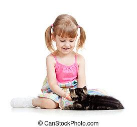 menina, gatinho, tocando, criança, gato