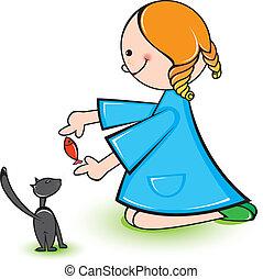 menina, gato