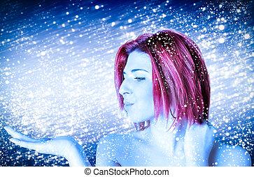 menina, gelado, beleza, inverno