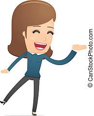 menina, gerente, suitable, para, uso, em, diálogos, com,...