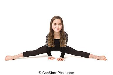 menina, ginástica, jovem
