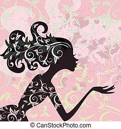 menina glamour, cabelo, ornamento